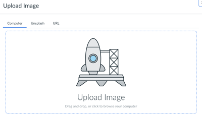 pop up window with a rocket image