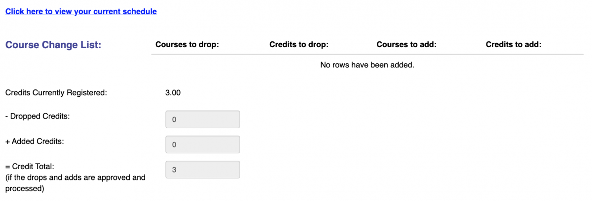 Screenshot of the top of the Add/Drop Form