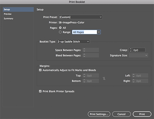 How to Print a Booklet from InDesign | MCAD Intranet