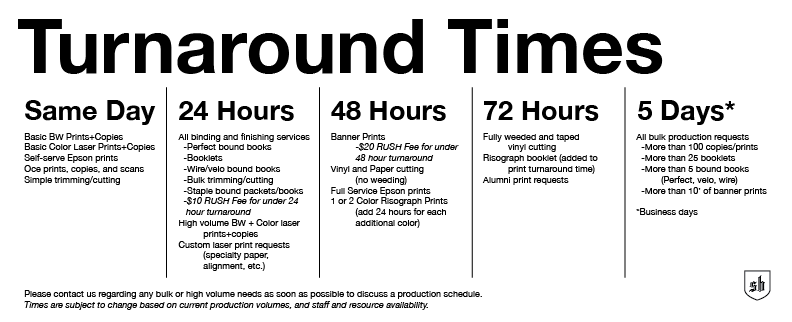 Turnaround Times for MCAD SB Services | MCAD Intranet