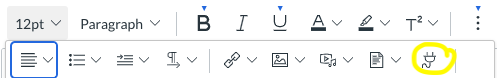 plug icon on menu
